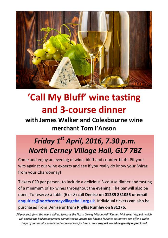 Call my Bluff Wine Tasting and Dinner - North Cerney Village Hall